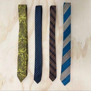 Vtg 50s 60s lot of 4 skinny ties stripes & paisley